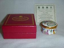 Halcyon Days 1987 Christmas Enamel Box with Coa and Original Presentation Box