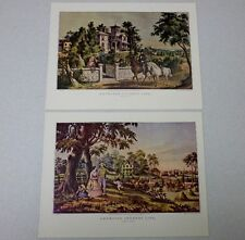 Set of 2 1952 Currier and Ives Lithograph Prints The Country Gentleman Americana