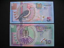 SURINAME  5 + 10 Gulden 2000  (P146 + P147)  UNC