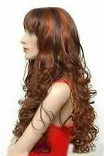 ZWJF161   FINE long curly copper red & brown mix women's wig  wigs for women
