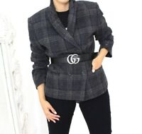 Olsen Modern Tweed Check Chic Navy Grey Wool Blend Blazer Jacket 16
