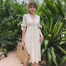 Women's Linen Short Sleeve V Neck Button Down Shirt Dress High Waist Casual