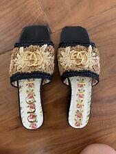 Gucci Women's Jolie Raffia Crochet Flower Slide Sandals 37