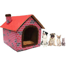 Indoor Small & Medium Dog House Soft Warm Cat Doggy Beds Red Brick Pet Kennel