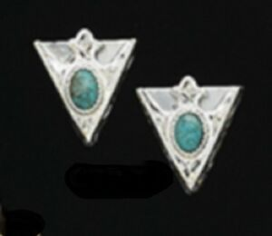 "New Austin Accent Collar Tips Engraved Silver Turquoise Stone Small 1"" X 1"""
