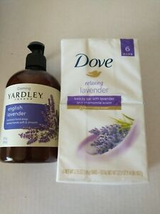 DOVE Relaxing Lavender Chamomile 6 Bar Soaps & YARDLEY LONDON English Hand Soap