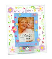 Top Shelf A Grandma Blossoms Hand Painted Glass Picture Frame New Born Baby 2x3