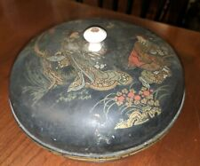 Antique Victorian Lacquer Ware Covered Box Chinoiserie 19th Century