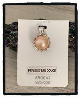 Pendentif Perle d'eau douce véritable en Argent Massif 925/000 Bijoux Femme