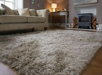 DAZZLE SPARKLE NATURAL COLOURED SILKY SOFT PILE  SHAGGY RUG in various sizes