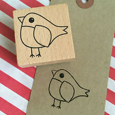 Christmas Robin Bird Wooden Printing Stamp - Craft Tags Wrapping Card Stamps