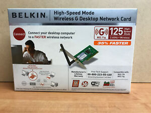 Belkin Wireless G Plus Desktop Network Card  F5D7001uk 125 high speed NEW
