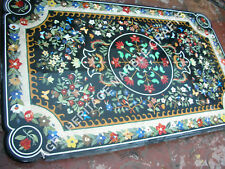5'x3' Exclusive Black Marble Outdoor Table Top Multi Marquetry Inlay Decor E842A
