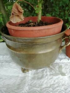 Vintage 3 Footed Brass Plant Flower Pot Two Side Handles 12cm High x 15cm