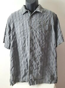Columbia Men's Short Sleeve Button Down Casual Shirt L Gray XCO Polynosic