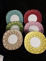 "BEAUTIFUL POLISH GILDED PORCELAIN CHINA TEA SAUCER Plates -6"" LOT  of 6"