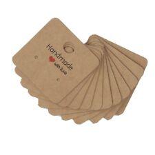 25 X Handmade With Love Earring Display Cards Jewellery Kraft Brown 4cm X 4cm