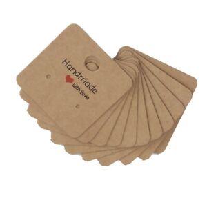 25 x Handmade With Love Earring Display Cards Jewellery Kraft Brown ~ 4cm x 4cm