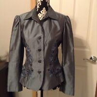 Women's Dana Buchman Tailored Steel Blue Silk Embroidered Jacket Size 6
