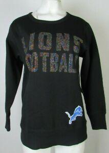 Detroit Lions NFL  Women's Black Long Sleeve Crew Neck Pull-Over Sweatshirt
