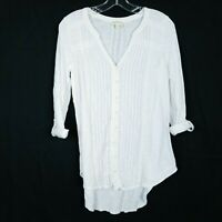 MEADOW RUE Anthropologie Button Front Top V-Neck 3/4 Tab Sleeves Women's size S