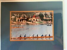 """Sculls & Rowing Clubs on River Matted Art -Print size 9 5/16"""" x 6 5/16"""" -14""""x11"""""""