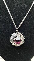 Vintage Mid Century Modern Star burst purple glass Center Pendant Necklace.