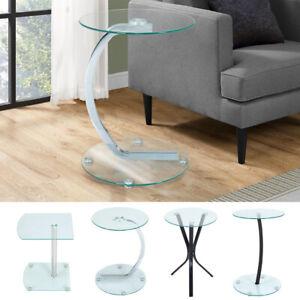 Contemporary Glass Sofa Side Coffee Table End Tea Home Lamp Stand Chrome Leg