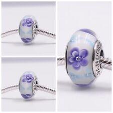 Pandora Murano Glass Charm with Purple Flowers Bead Silver S925 ALE New