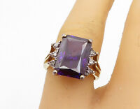 925 Silver - Vintage Amethyst & Genuine Diamonds Cocktail Ring Sz 7 - R17612