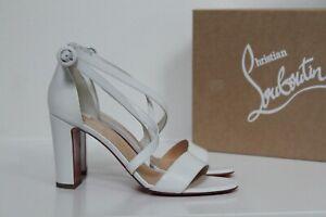 sz 7.5 / 37.5 Christian Louboutin White Loubie Bee Cross Strap Sandal Heel Shoes