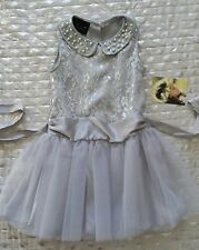 Biscotti silver girls dress Beaded Collar Tutu Skirt Drop Waist Sz 6 nwt