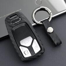 Carbon Fiber Smart Car Key Fob Chain Ring Case Cover For Audi A4 A5 B9 Q5 Q7 TT