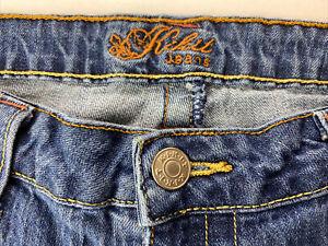 Kikit 12 Womens Jeans Bootcut 35x32 Stretch Flap Pocket Medium Wash Denim