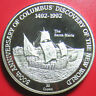 "1989 TURKS CAICOS 20 CROWNS SILVER PROOF ""SANTA MARIA"" COLUMBUS SAILING SHIP"