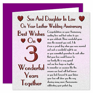Son & Daughter In Law - 1st - 40th Years - Your Wedding Anniversary Card - Verse