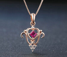 14k Rose Gold Plated Silver 30mm Ruby Princess Pendant Necklace with chain