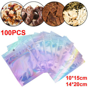100X Holographic Foil Heat Seal Zip Lock Pouch Bag Rainbow Laser Bags NEW