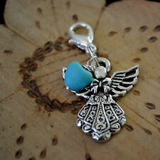 Healing Angel Natural Heart turquoise Clip On Charm Or Pendant  in Silver 1""