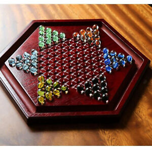 Classic Wooden Chinese Checkers Chessboard 60 Marbles Family Fun Collection