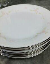 "7 Noritake Temptation Salad Plates 2752 8-1/4"" Pink/White Flowers Plat Trim SPi"
