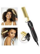 Electric Hot Comb Hair Ceramic Comb Security Portable Curling Iron Heated Brush