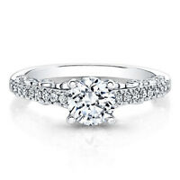0.64 Ct Round Cut Real Diamond Ring 14K Solid White Gold Womens Size 7 6 5 4.5