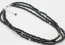 SILPADA Sterling Silver Triple Strand Black Bead Necklace N1500