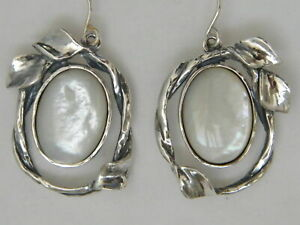 Amazing Sterling Silver SHABLOOL teardrop White Mother of Pearl Earrings