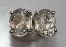 BNIB - 9ct White Gold Tanzania ICE ZIRCON Gemstone Oval Stud Earrings