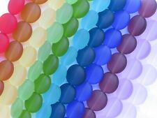 Sea Glass BEADS 12mm color mix 12 Strands rainbow transparent frosted flat glass