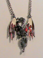 Winged Dragon Pendant Necklace Signed