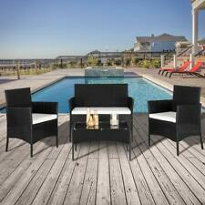 4 PCS Outdoor Patio PE Rattan Wicker Table Set Sofa Furniture w/ Cushion Black