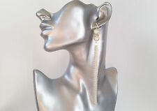 Gorgeous LONG silver tone faux pearl & diamante CLIP ON chain tassel earrings